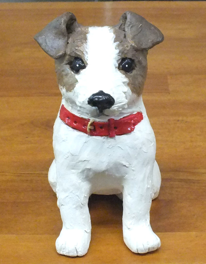★ジャックラッセルテリア犬の置物★創作粘土工芸家の手作り作品★_画像1