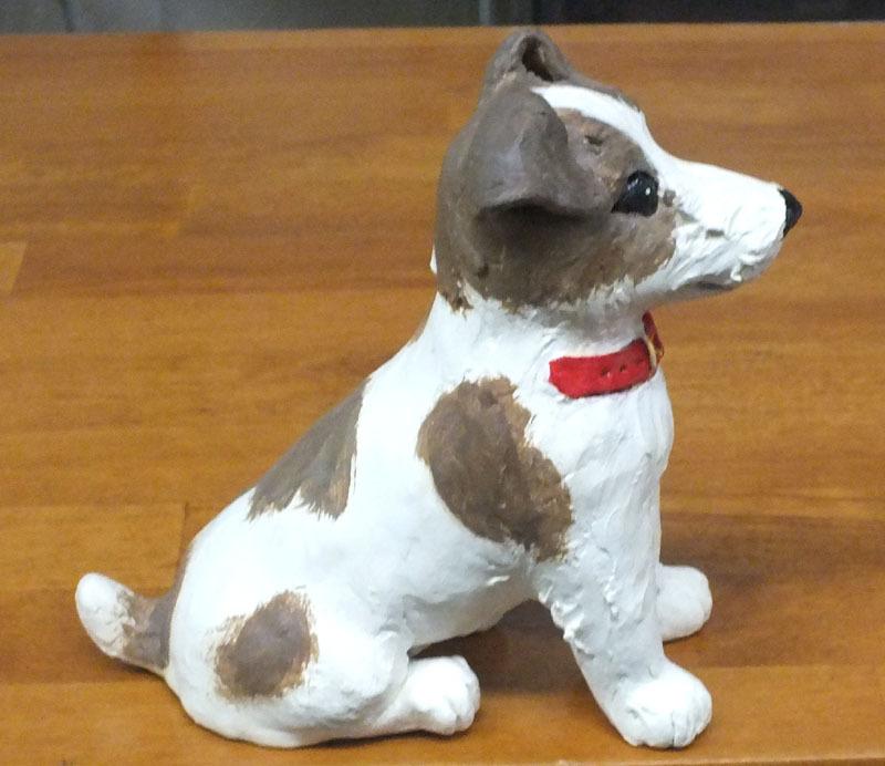 ★ジャックラッセルテリア犬の置物★創作粘土工芸家の手作り作品★_画像2