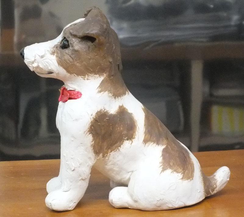 ★ジャックラッセルテリア犬の置物★創作粘土工芸家の手作り作品★_画像3