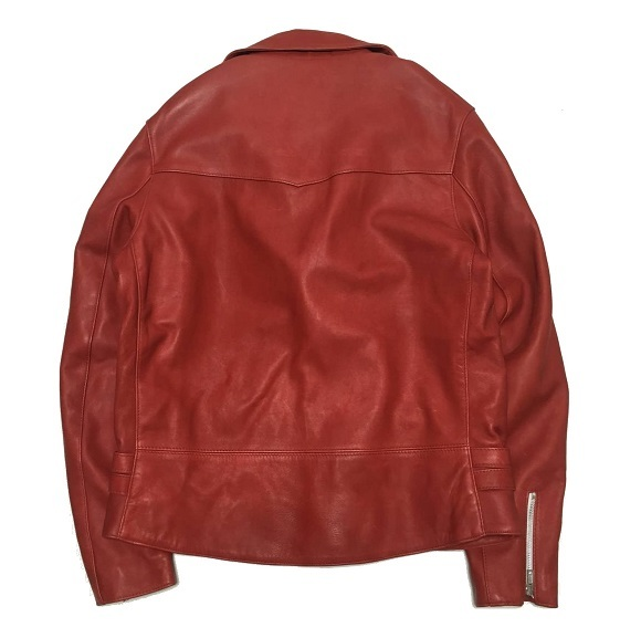 18AW 赤 40 新品 14.3万 JAMES GROSE ジェームスグロース ダブル ライダース レザー ジャケット_画像3