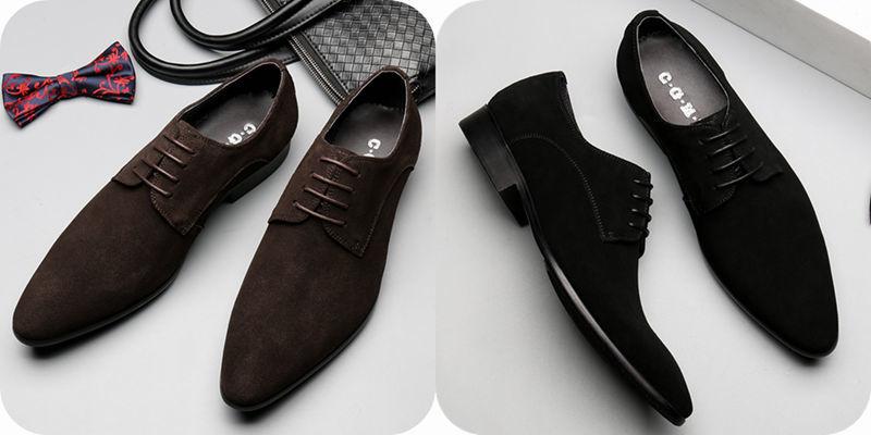 2018新品♪メンズビジネスシューズ 紳士靴 ヨーロピアン 本革 レザー 牛革◆プレーントゥ レースアップ スエード◆ブラック JS46y 24cm_画像7