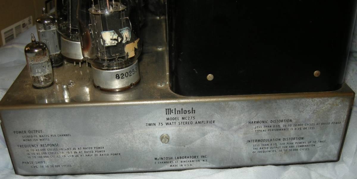 貴重ながらも重病のマッキントッシュ パワーアンプ mcintosh 275(マッキントッシュ275)ジャンク扱い(40年前からの使用品)_画像3
