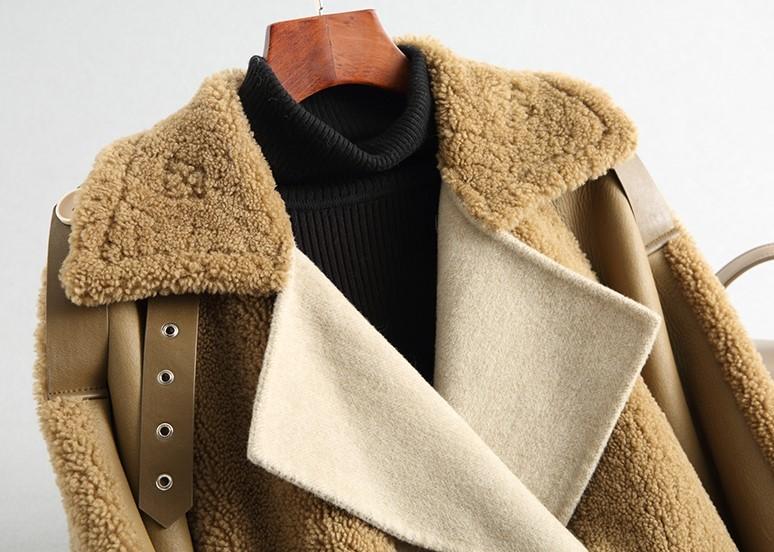 ◆◆◆有名デザイナー特別オーダー受付◆◆◆世界で自分だけのコート♪ウールレザー毛皮 トシープスキンラムXmas presentにいかが?(^^♪_画像4