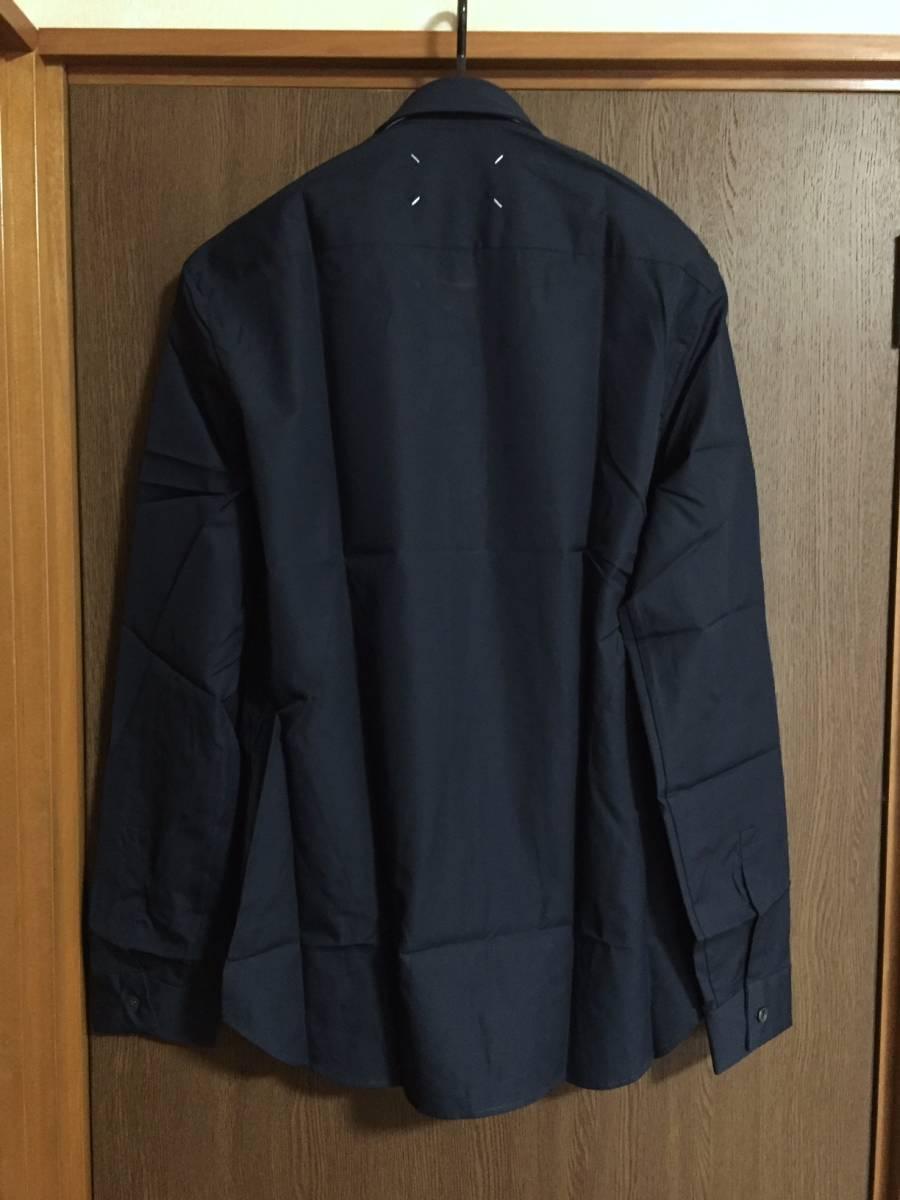 紺41新品48%off メゾンマルジェラ ポプリン 長袖 シャツ 17AW size 41 Maison Margiela 14 マルタンマルジェラ メンズ ダークネイビー_画像3