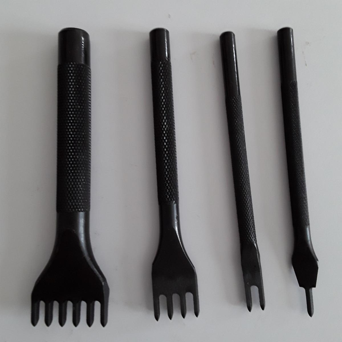 菱目打ち 4本 セット レザークラフト 工具 黒色 (5mm)