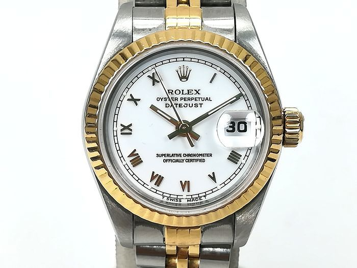 ROLEX ロレックス レディース 時計 デイトジャスト オートマチック 69173 YG/SS ホワイトローマン文字盤 ジャンク