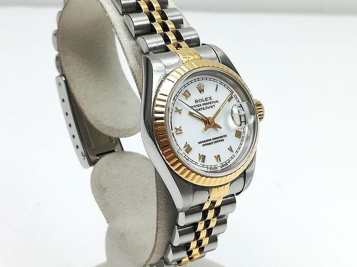 ROLEX ロレックス レディース 時計 デイトジャスト オートマチック 69173 YG/SS ホワイトローマン文字盤 ジャンク  _画像4