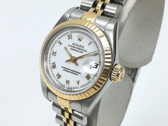 ROLEX ロレックス レディース 時計 デイトジャスト オートマチック 69173 YG/SS ホワイトローマン文字盤 ジャンク  _画像3