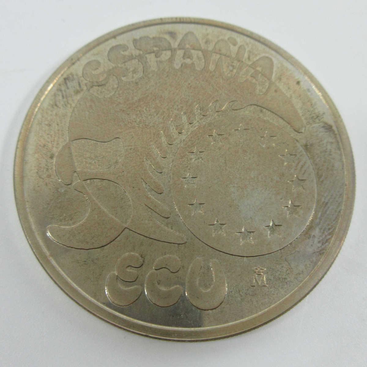 ■スペイン大型銀貨(1989年ヨーロッパ 33.62g プルーフ)5エキュ銀貨 b83_画像2