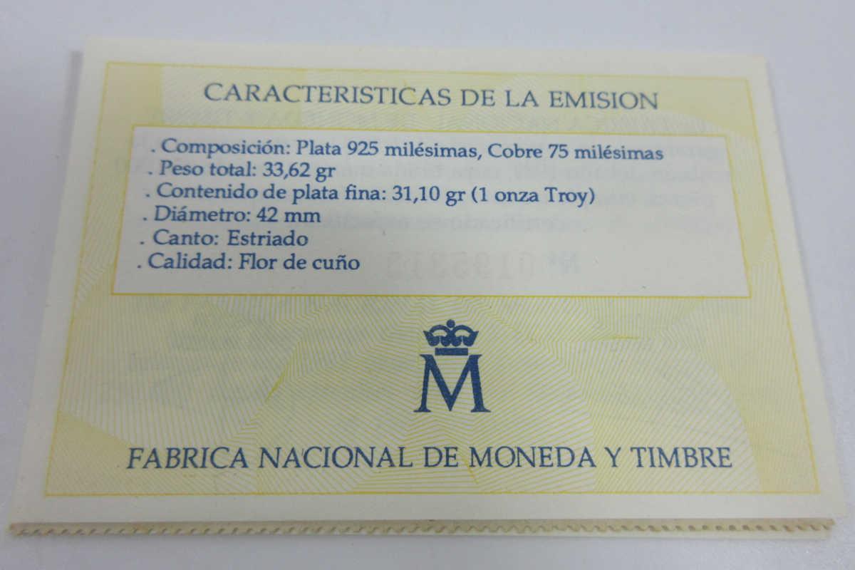 ■スペイン大型銀貨(1989年ヨーロッパ 33.62g プルーフ)5エキュ銀貨 b83_画像4