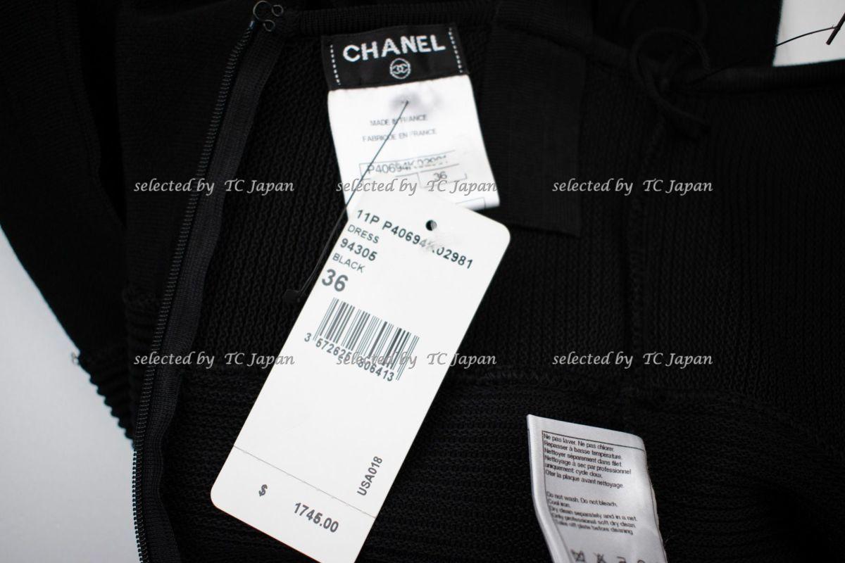 【CHANEL】新品紙タグ付き シャネル・ナオミワッツ着用 デザインの美しいブラック・ニット・ワンピース モデル着用 F36_画像10