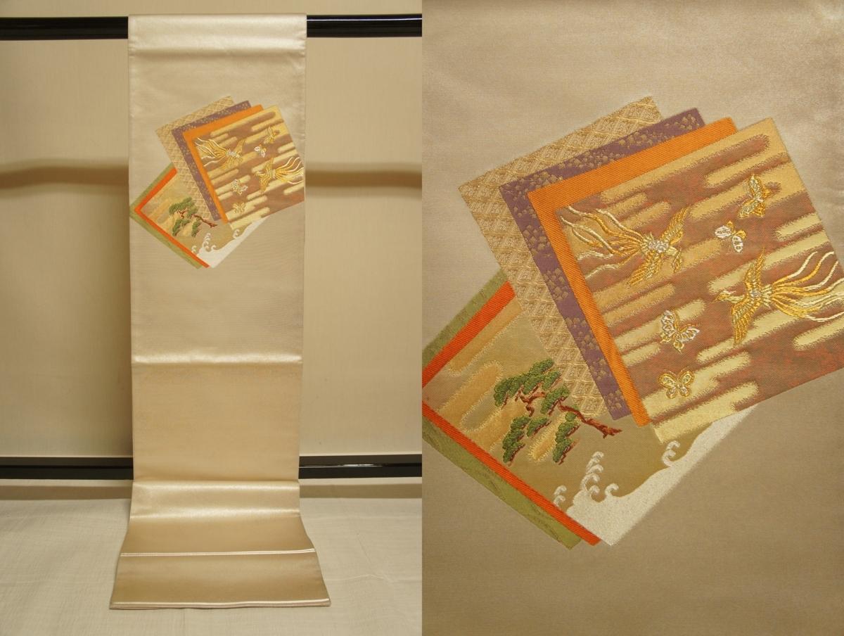 特選『紫紘』手織り銀箔地色紙重ね模様袋帯[O10859]_特選『紫紘』手織り銀箔地色紙重ね模様袋帯