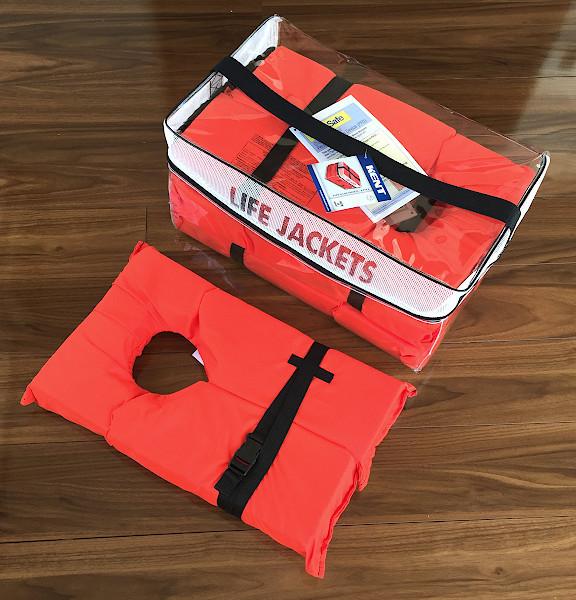「ライフジャケット オレンジ 新品  4着 単位なら 収納袋付き」の画像2