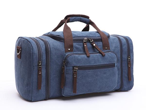 ボストンバッグ 旅行鞄かばん 今季人気新作 大容量 キャンバス メンズ 2WAY ショルダー付き 旅行出張 4日3泊 底防滑ゴム付き 8642 ネイビー_多彩なポケットと高い機能性
