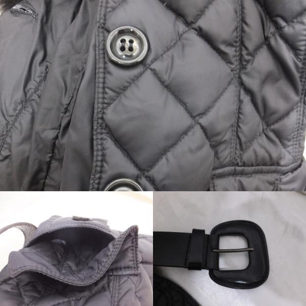MONCLER モンクレール ファー付きキルティングダウンジャケット サイズ00 ブラック/黒 レディース ベルト付き_画像4
