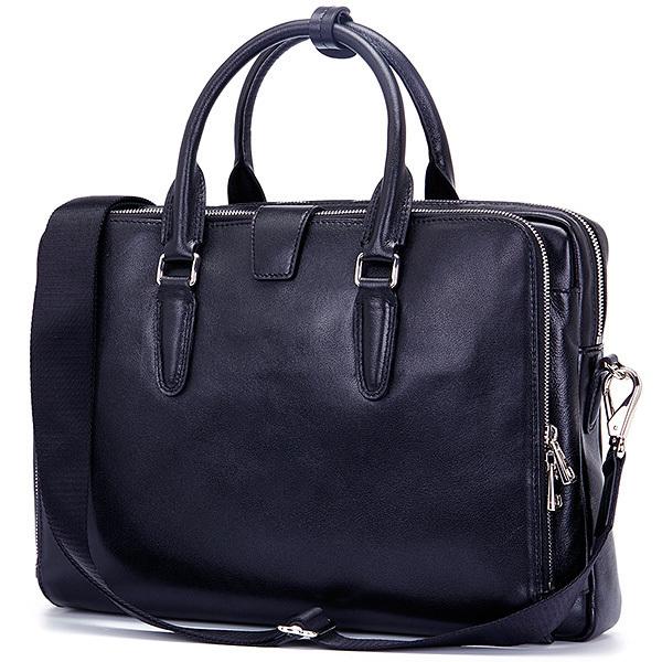 MY BAG 最新作 ブリーフケース ビジネスバッグ 本革 レザー メンズ 14インチPC A4対応 書類かばん 2WAY ショルダーバッグ 1553 ネイビー