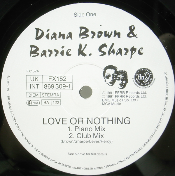 良品!! 12インチ UKオリジナル DIANA BROWN & BARRIE K. SHARPE Love Or Nothing ('91 FFRR) Don't Cross The Tracks 収録 サンプリング_画像3