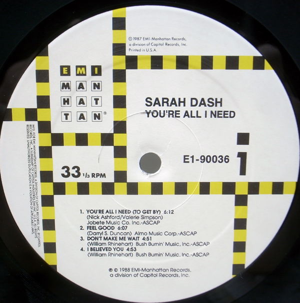 美品!! シュリンク+ハイプ・ステッカー USオリジナル SARAH DASH You're All I Need ('88 EMI) PATTI LABELLE, RAY, GOODMAN & BROWN 参加_画像3
