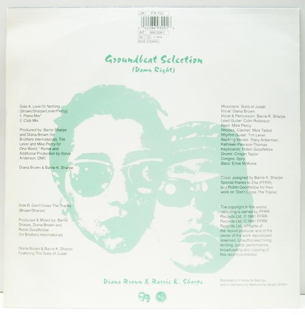 良品!! 12インチ UKオリジナル DIANA BROWN & BARRIE K. SHARPE Love Or Nothing ('91 FFRR) Don't Cross The Tracks 収録 サンプリング_画像2