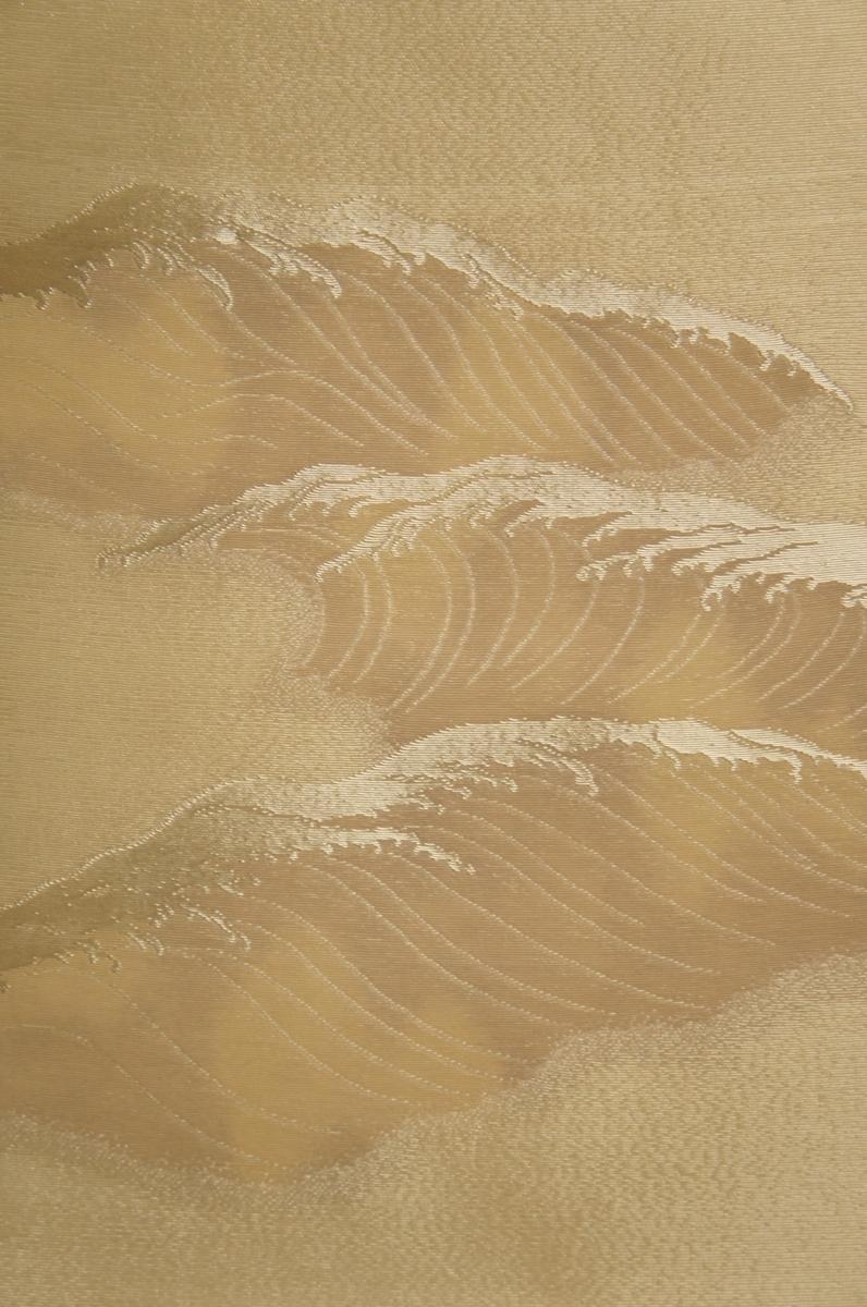 紫紘特選紗アイボリー色地手織波模様未着用袋帯[O10849]_紗アイボリー色地手織波模様未着用袋帯