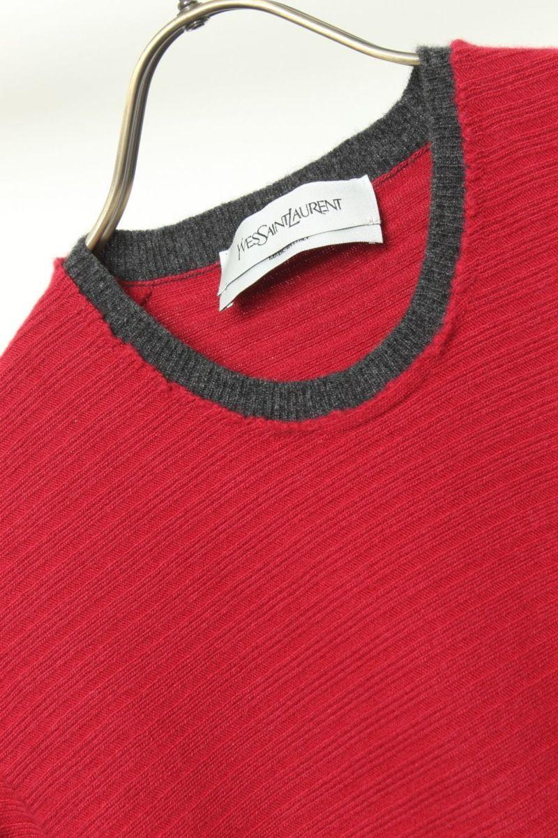 イヴサンローラン Yves Saint Laurent セーター ニット ウール100 カシミヤ カシミア イタリア製 M_画像3
