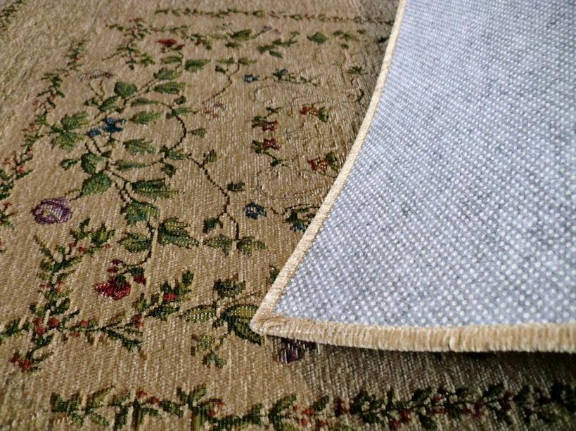 ラグ ラグマット 60×90 玄関マット ベルギー製 玄関 小花柄 ゴブラン織絨毯 春 夏 西海岸 ホットカーペット対応 長方形 北欧 ベージュ_画像5