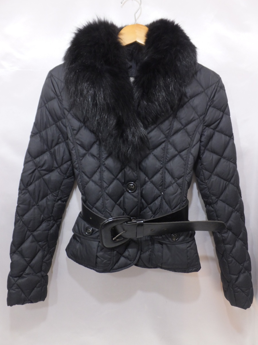 MONCLER モンクレール ファー付きキルティングダウンジャケット サイズ00 ブラック/黒 レディース ベルト付き_画像1
