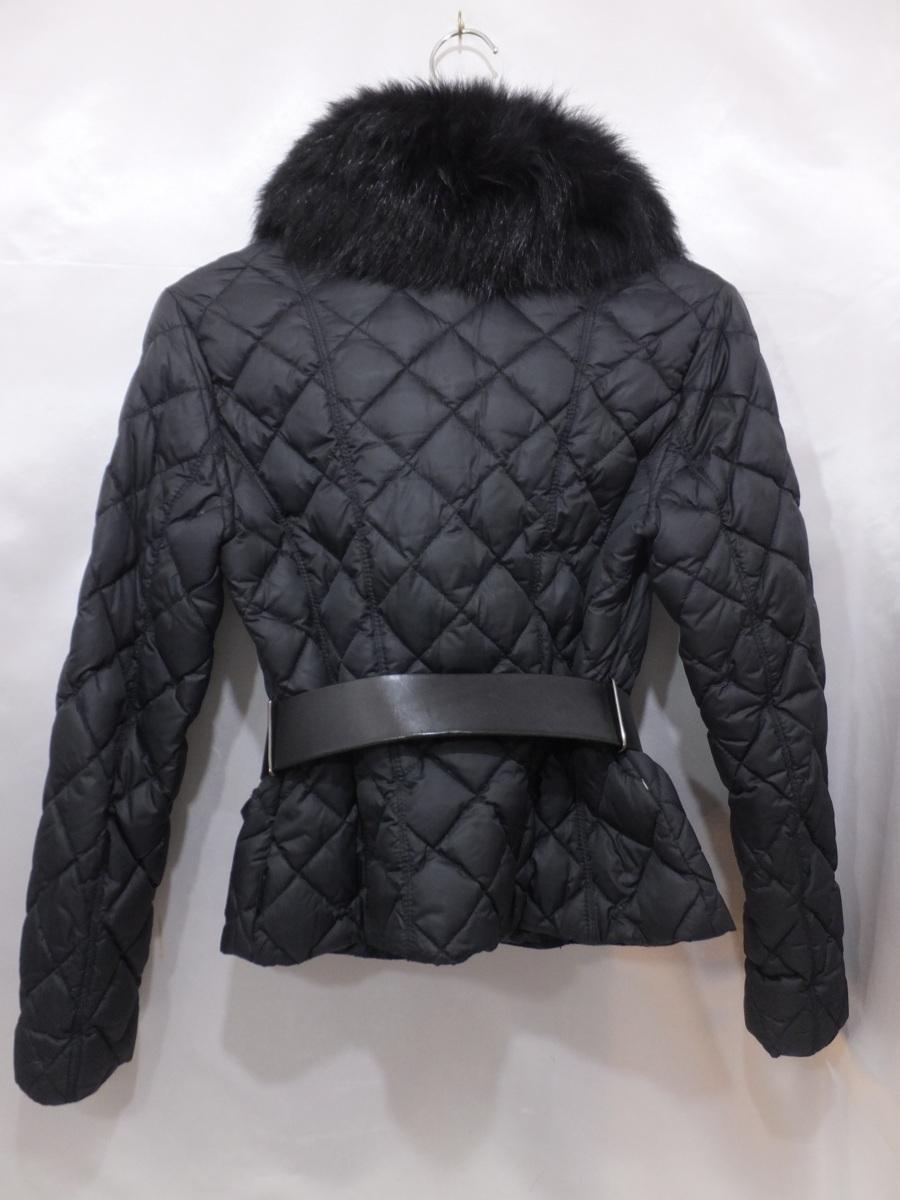 MONCLER モンクレール ファー付きキルティングダウンジャケット サイズ00 ブラック/黒 レディース ベルト付き_画像2