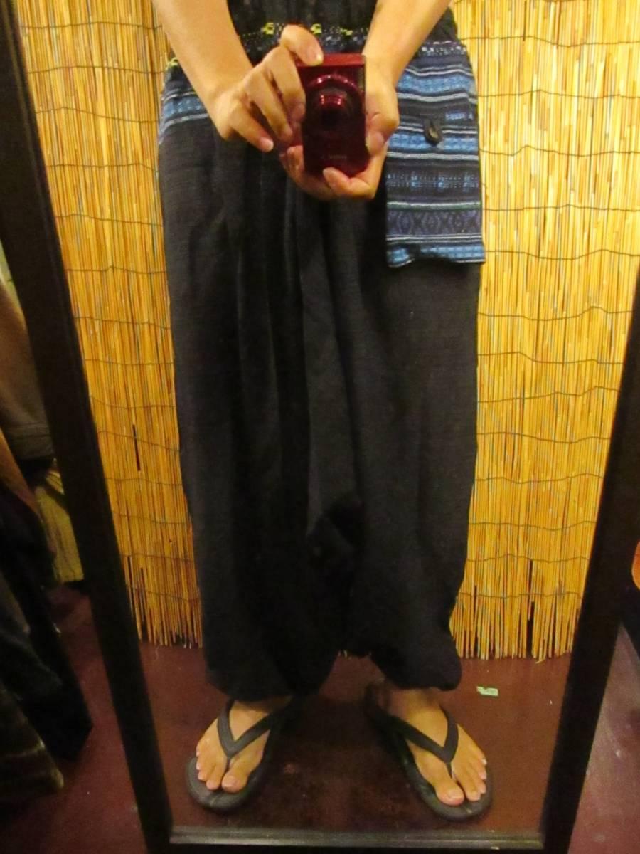 8新品 男女兼用 織りコットン素材+ゲリ生地 ふんわりサルエルパンツ エスニック アジアン ヒッピー 旅人マジャム MAJAM_画像4