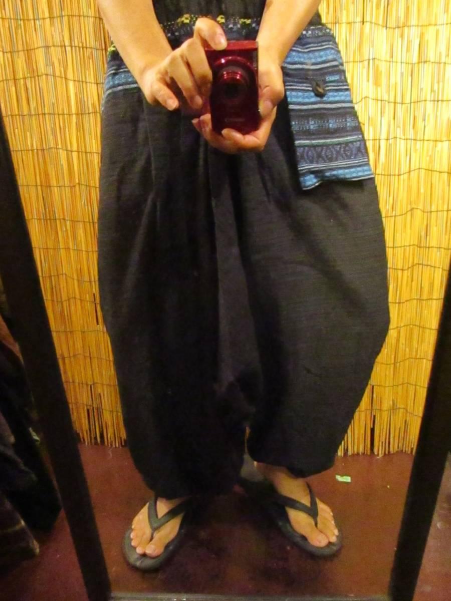 8新品 男女兼用 織りコットン素材+ゲリ生地 ふんわりサルエルパンツ エスニック アジアン ヒッピー 旅人マジャム MAJAM_画像5
