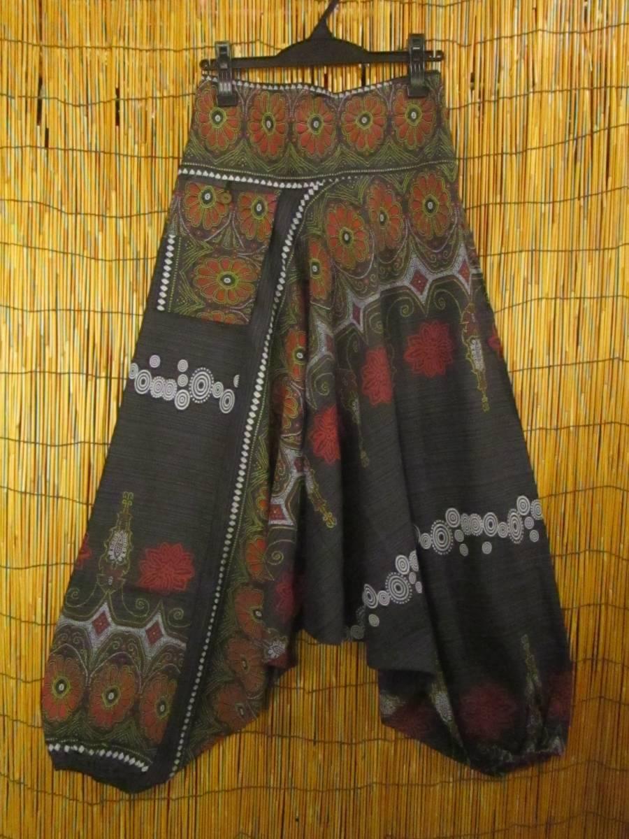 8新品 男女兼用 織りコットン+フラワーペイント サルエルパンツ エスニック アジアン ヒッピー 民族 ダンス ヨガ マジャム MAJAM