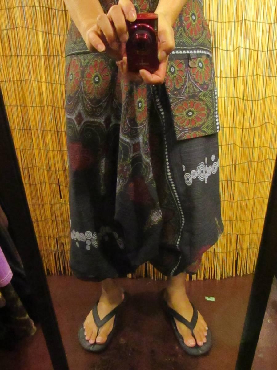 8新品 男女兼用 織りコットン+フラワーペイント サルエルパンツ エスニック アジアン ヒッピー 民族 ダンス ヨガ マジャム MAJAM_画像4