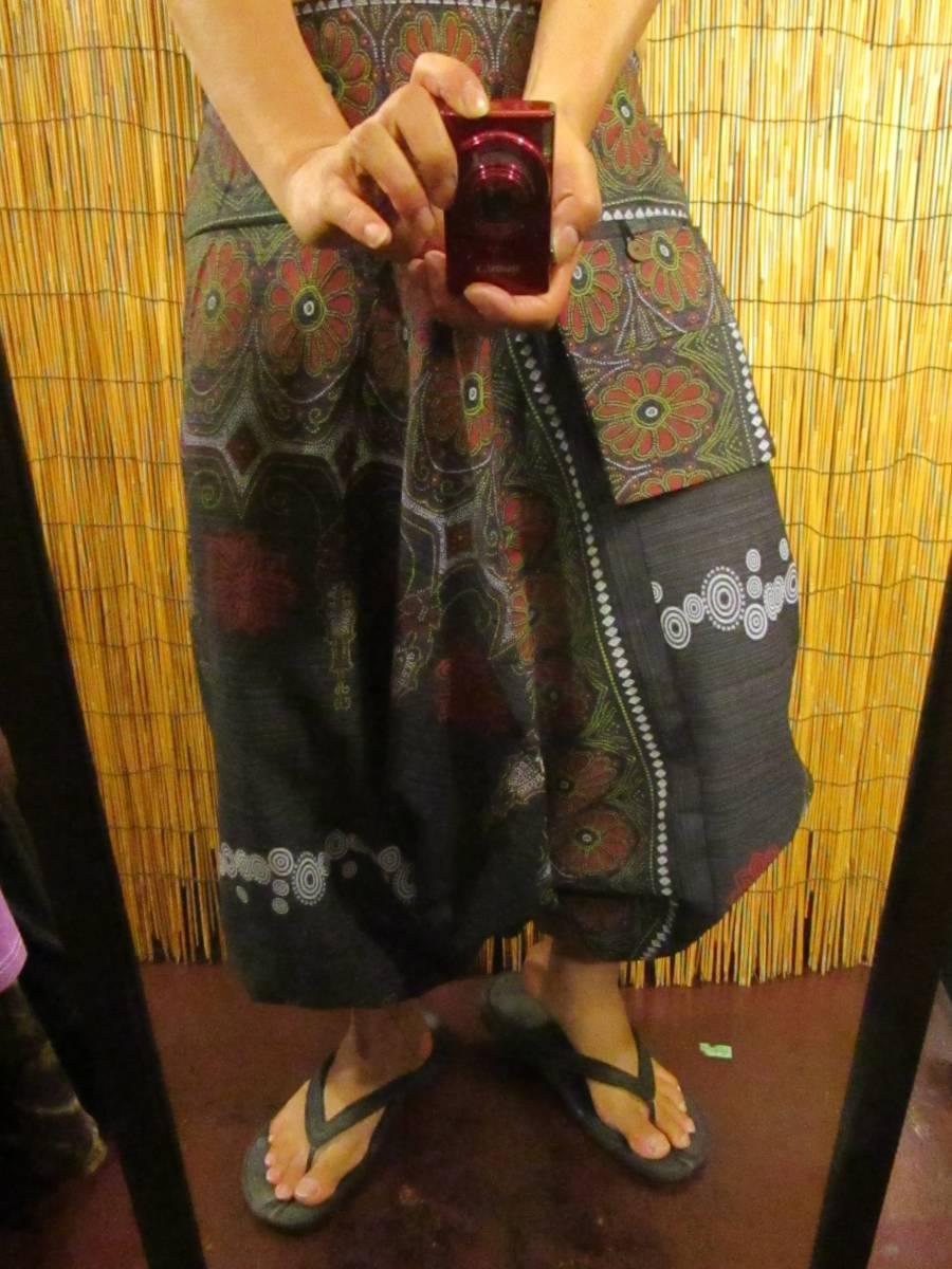 8新品 男女兼用 織りコットン+フラワーペイント サルエルパンツ エスニック アジアン ヒッピー 民族 ダンス ヨガ マジャム MAJAM_画像5