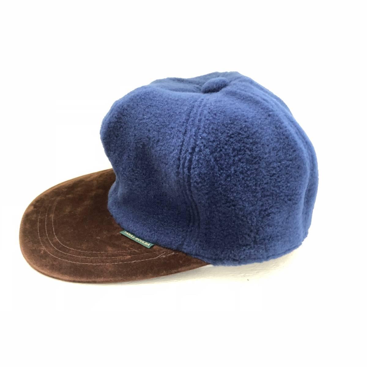 TARAS BOULBA タラスブルバ 帽子 キャップ フリースカントリーキャップ ネイビー 青系 L メンズ アシックス asics UFH350 日本製 未使用_画像2