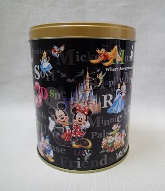 ◇TDL 東京ディズニーランド◇ミッキー&ミニー フレンズ お菓子の空き缶 筒型/小物入れ_画像3