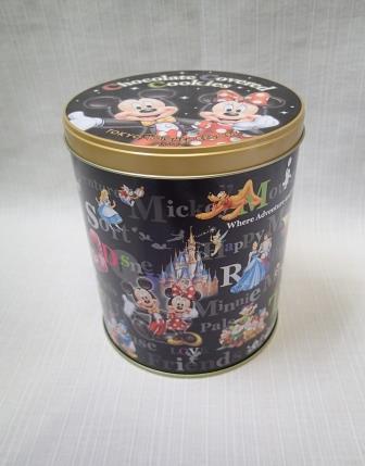 ◇TDL 東京ディズニーランド◇ミッキー&ミニー フレンズ お菓子の空き缶 筒型/小物入れ_画像1