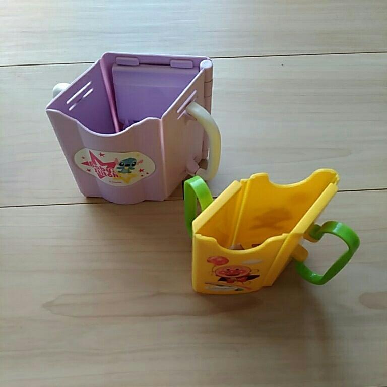 ドリンクホルダー コンビ ディズニー スティッチ 箱 アンパンマン 乳幼児 ベビー 紙パック 補助用品 2点 BitattoMug 黄緑色_画像2