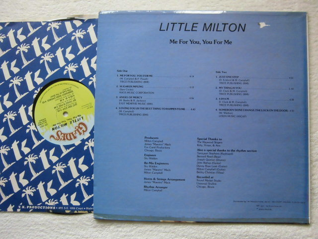 Little Milton / Me For You, You For Me /「Sam Cooke 作 / Sugar Dumpling」カバー収録 /1977 Glades LP-7511 / 5点以上送料無料_画像2