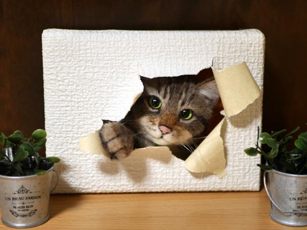 ★銀★ 羊毛フェルト 猫 ハンドメイド キジトラ猫 壁から覗く猫 壁掛け _画像7