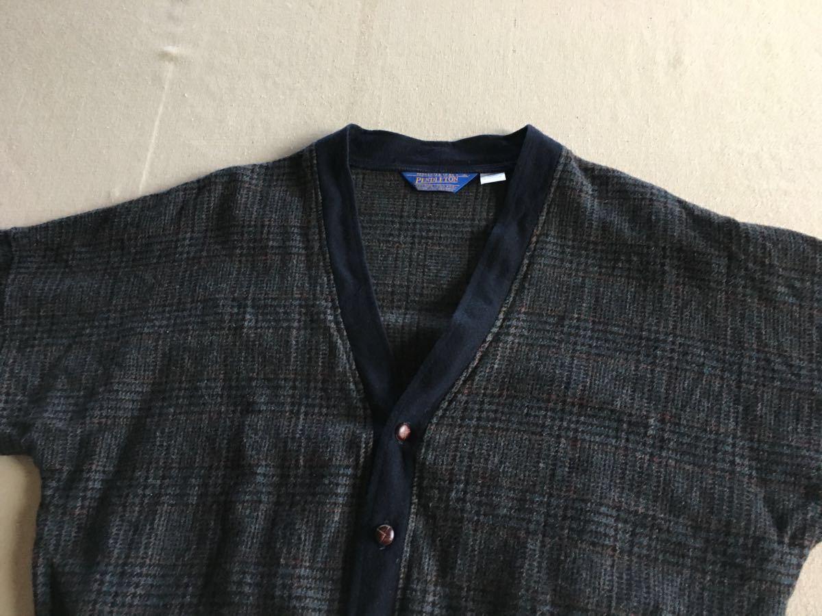 (M) 美品■PENDLETON カーディガン 生成り ペンドルトンケーブル編み