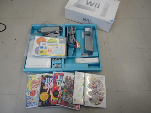 Nintendo Wii 任天堂 RVL-001 ホワイト 動作確認済み ワリオランドシェイク 太鼓の達人 ジャストダンス 他 ソフト6点 O