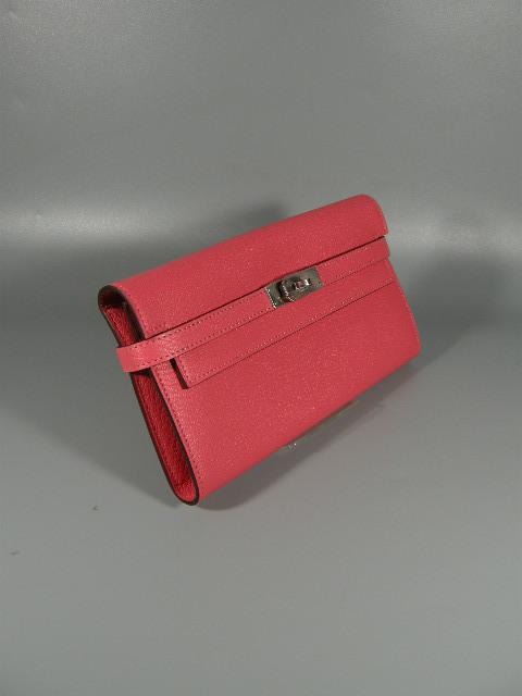 【631486】新品未使用本物 エルメス HERMES Kelly ケリーウォレット 2つ折り 長財布 エヴァーカラー A刻印 シルバー金具 ピンク_画像2