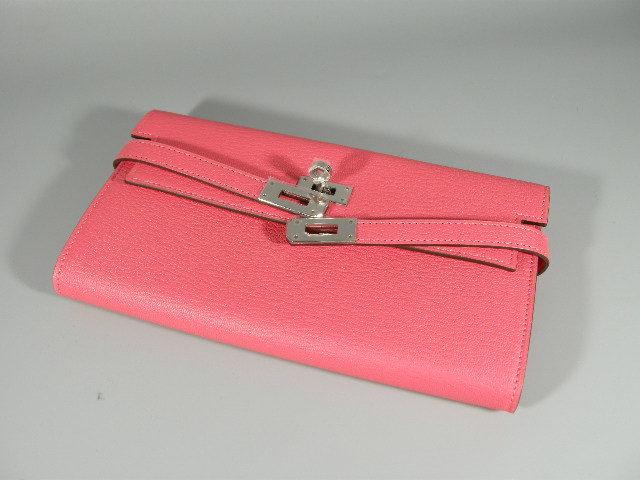 【631486】新品未使用本物 エルメス HERMES Kelly ケリーウォレット 2つ折り 長財布 エヴァーカラー A刻印 シルバー金具 ピンク_画像5