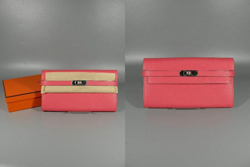 【631486】新品未使用本物 エルメス HERMES Kelly ケリーウォレット 2つ折り 長財布 エヴァーカラー A刻印 シルバー金具 ピンク_画像1