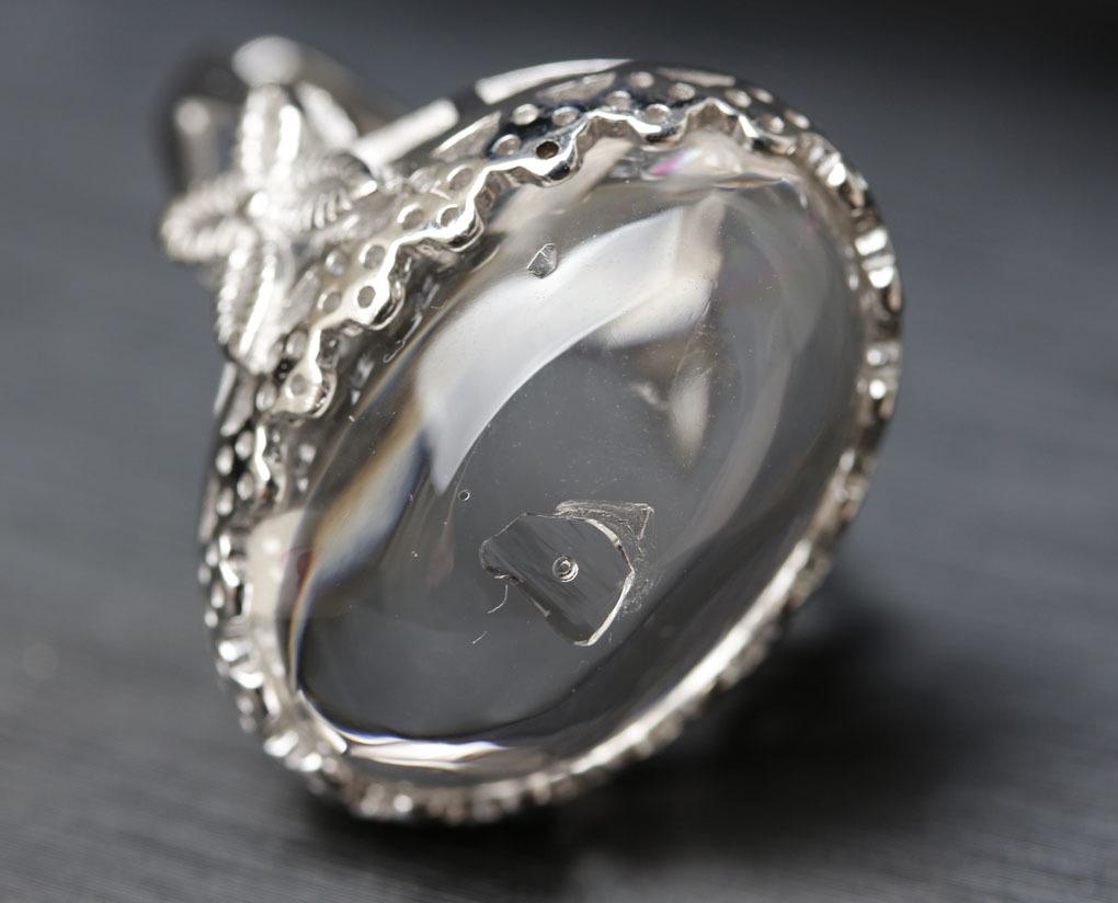 【古憶】即決!超高品質 水入り水晶指輪 太古の記憶 水量大 面白い石 パワーストーン シルバー925 天然水晶 箱入り/sdjz39