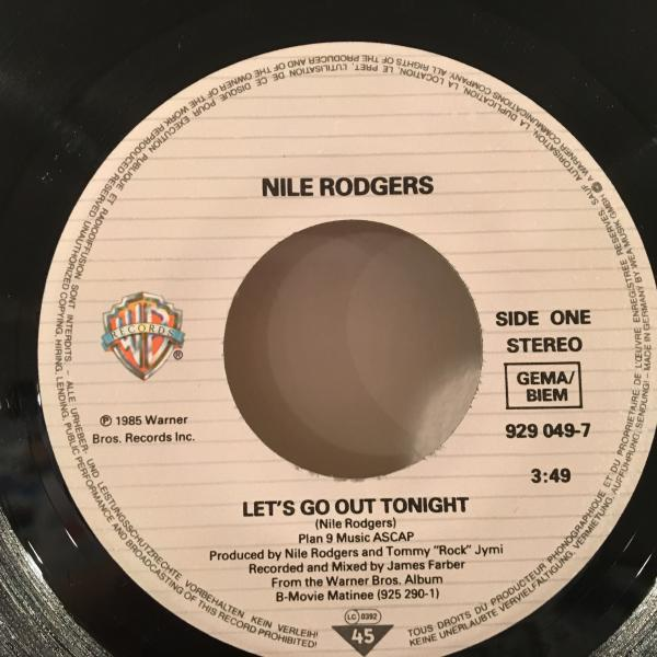 ☆Nile Rodgers/Let's Go Out Tonight☆日本語入りMELLOW BOOGIE!7inch 45_画像2