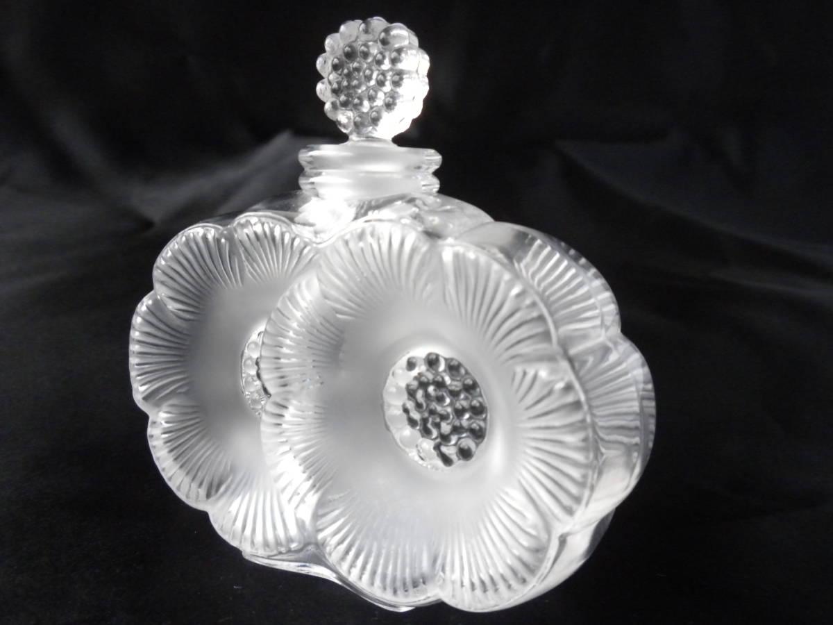 【美品】 R.lalique ルネ・ラリック ドゥ・フルール 二つの花 パフュームボトル 香水瓶 フロステッド クリスタル フランス ガラス_画像4