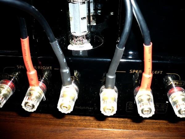 8L054   スピーカーケーブル用 Y型ラグ  純銅に銀メッキ    8個セット_アンプへの接続例