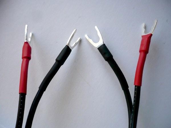 8L054   スピーカーケーブル用 Y型ラグ  純銅に銀メッキ    8個セット_熱収縮チューブ使用例
