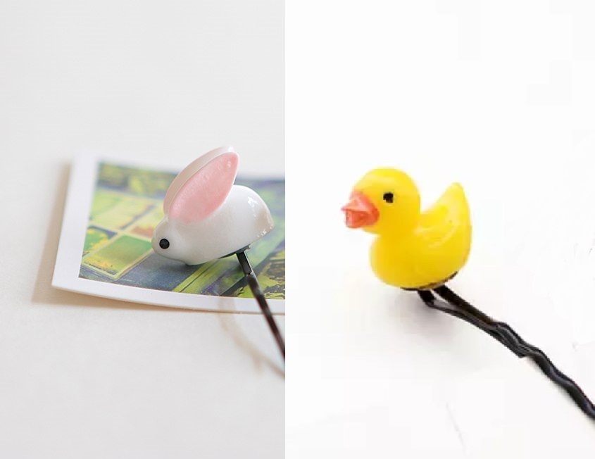 # free shipping ...& chick hairpin 2 ps by set total 4ps.@/// animal bird rabbit hi width hpin25